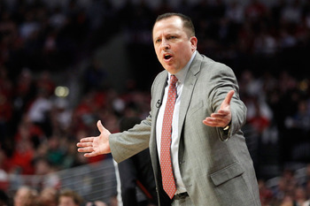 CHICAGO, IL - MAY 18:  Head coach Tom Thibodeau of the Chicago Bulls reacts against the Miami Heat in Game Two of the Eastern Conference Finals during the 2011 NBA Playoffs on May 18, 2011 at the United Center in Chicago, Illinois. NOTE TO USER: User expr