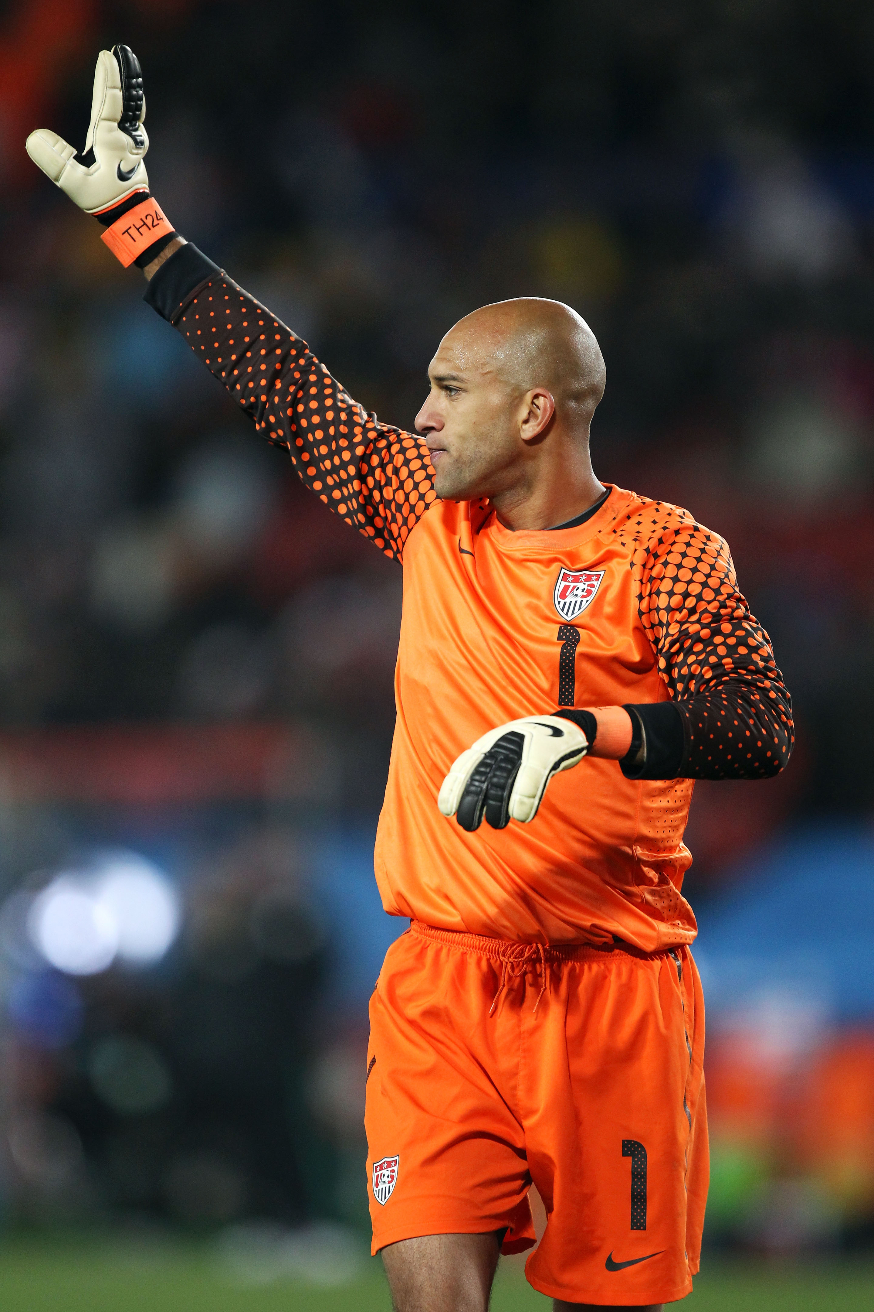 JOHANNESBURG, SOUTH AFRICA - JUNE 18:  Tim Howard of the United States waves to fans after the 2010 FIFA World Cup South Africa Group C match between Slovenia and USA at Ellis Park Stadium on June 18, 2010 in Johannesburg, South Africa.  (Photo by Streete