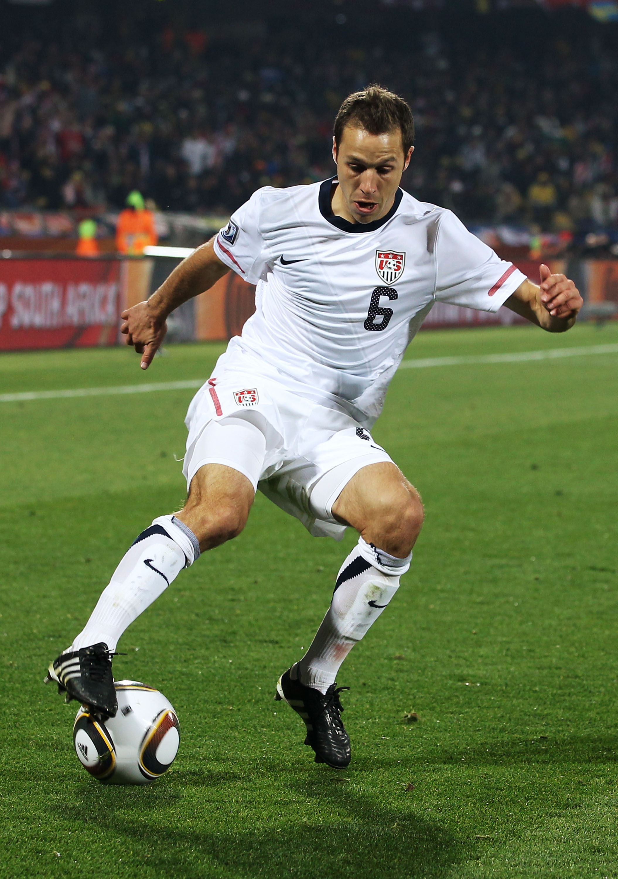 RUSTENBURG, SOUTH AFRICA - JUNE 26: Steve Cherundolo of the United States in action during the 2010 FIFA World Cup South Africa Round of Sixteen match between USA and Ghana at Royal Bafokeng Stadium on June 26, 2010 in Rustenburg, South Africa.  (Photo by