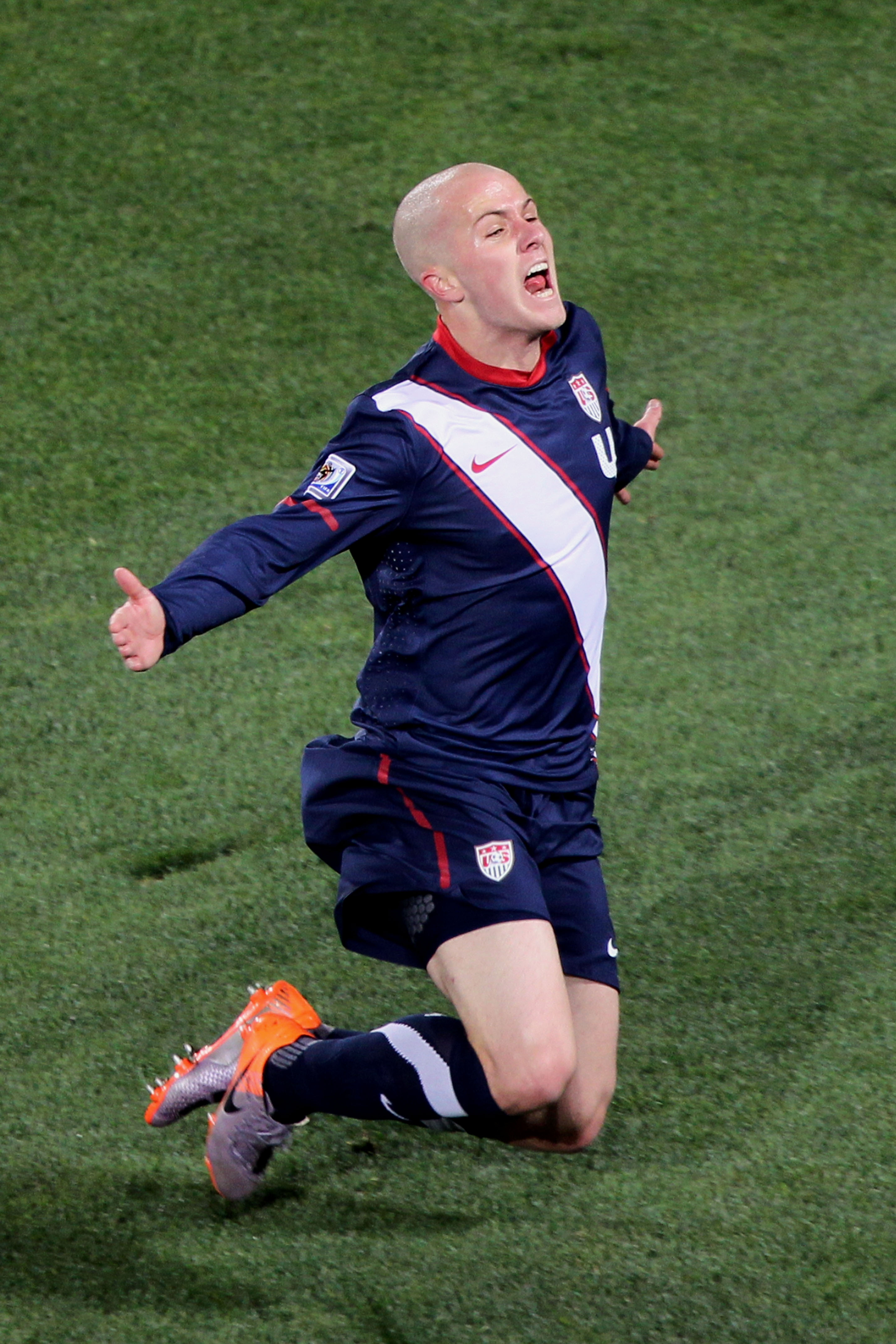 JOHANNESBURG, SOUTH AFRICA - JUNE 18:  Michael Bradley of the United States celebrates scoring his team's second goal during the 2010 FIFA World Cup South Africa Group C match between Slovenia and USA at Ellis Park Stadium on June 18, 2010 in Johannesburg
