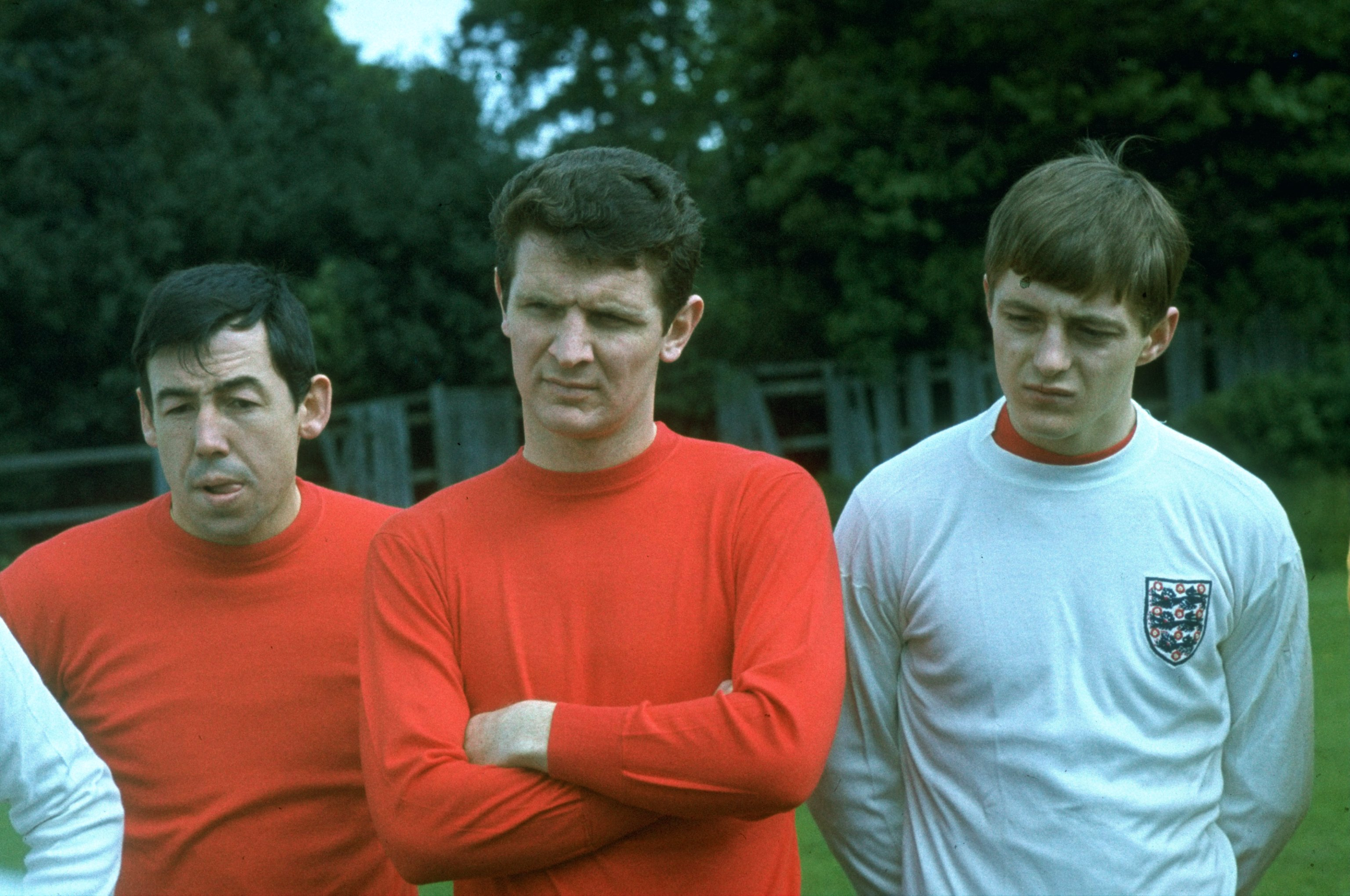 1970:  Portrait of (left to right) Gordon Banks, Brian Labone and Allan Clarke of England during a training session.   \ Mandatory Credit: Allsport UK /Allsport