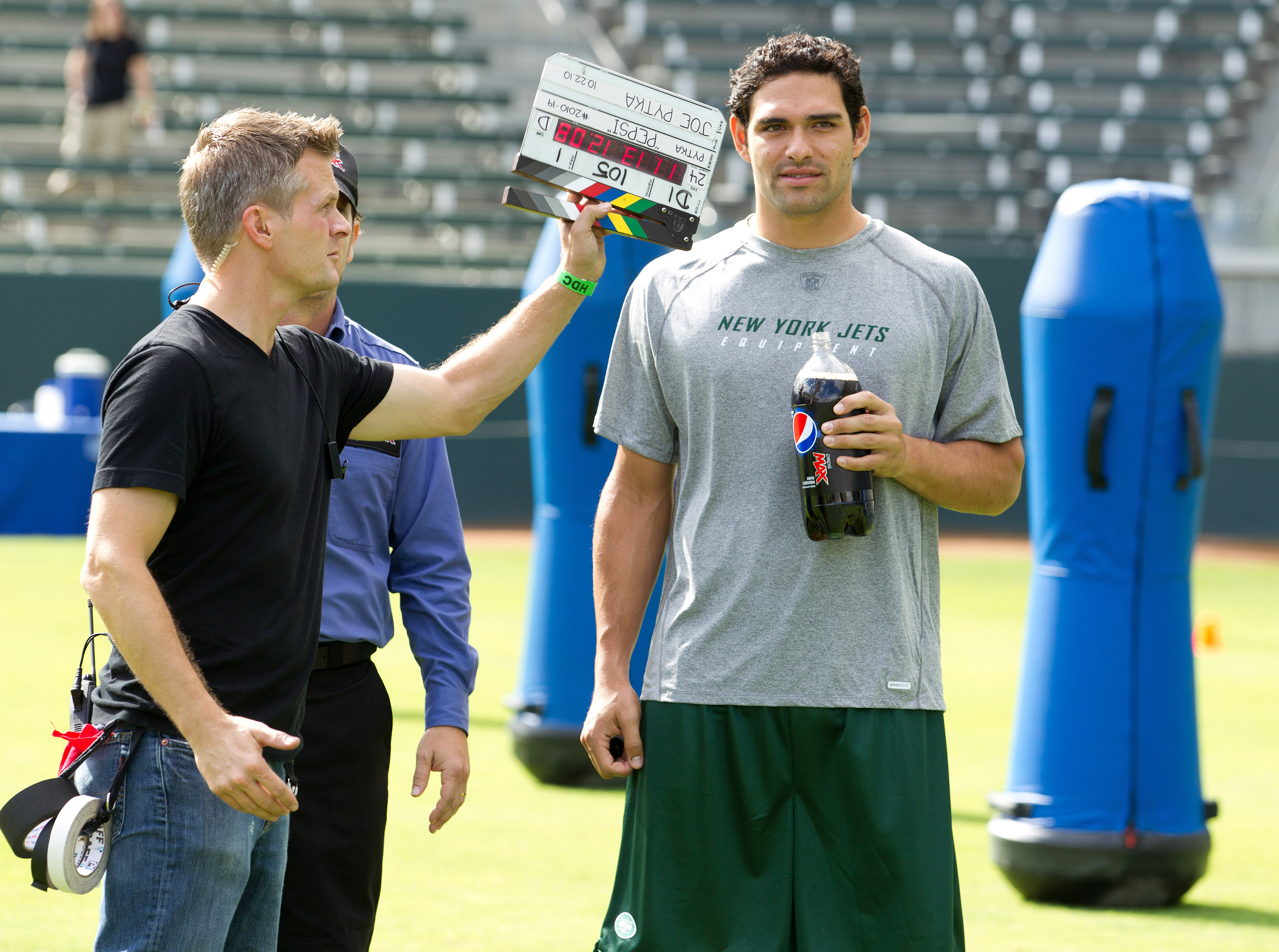 CARSON, CA - OCTOBER 22:  New York Jets quarterback Mark Sanchez shoots a scene with the Pepsi MAX driver on the set of the new zero calorie Pepsi MAX NFL commercial at The Home Depot Center on October 22, 2010 in Carson, California. The ad, which debuts