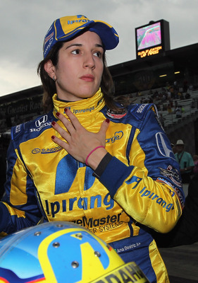 INDIANAPOLIS, IN - MAY 22:  Ana Beatriz of Brazil, driver of the #24 Team Ipiranga/Dreyer & Reinbold Racing Dallara Honda, looks to the scoreboard after qualifying for the Indianapolis 500 on May 22, 2011 at Indianapolis Motor Speedway in Indianapolis, In