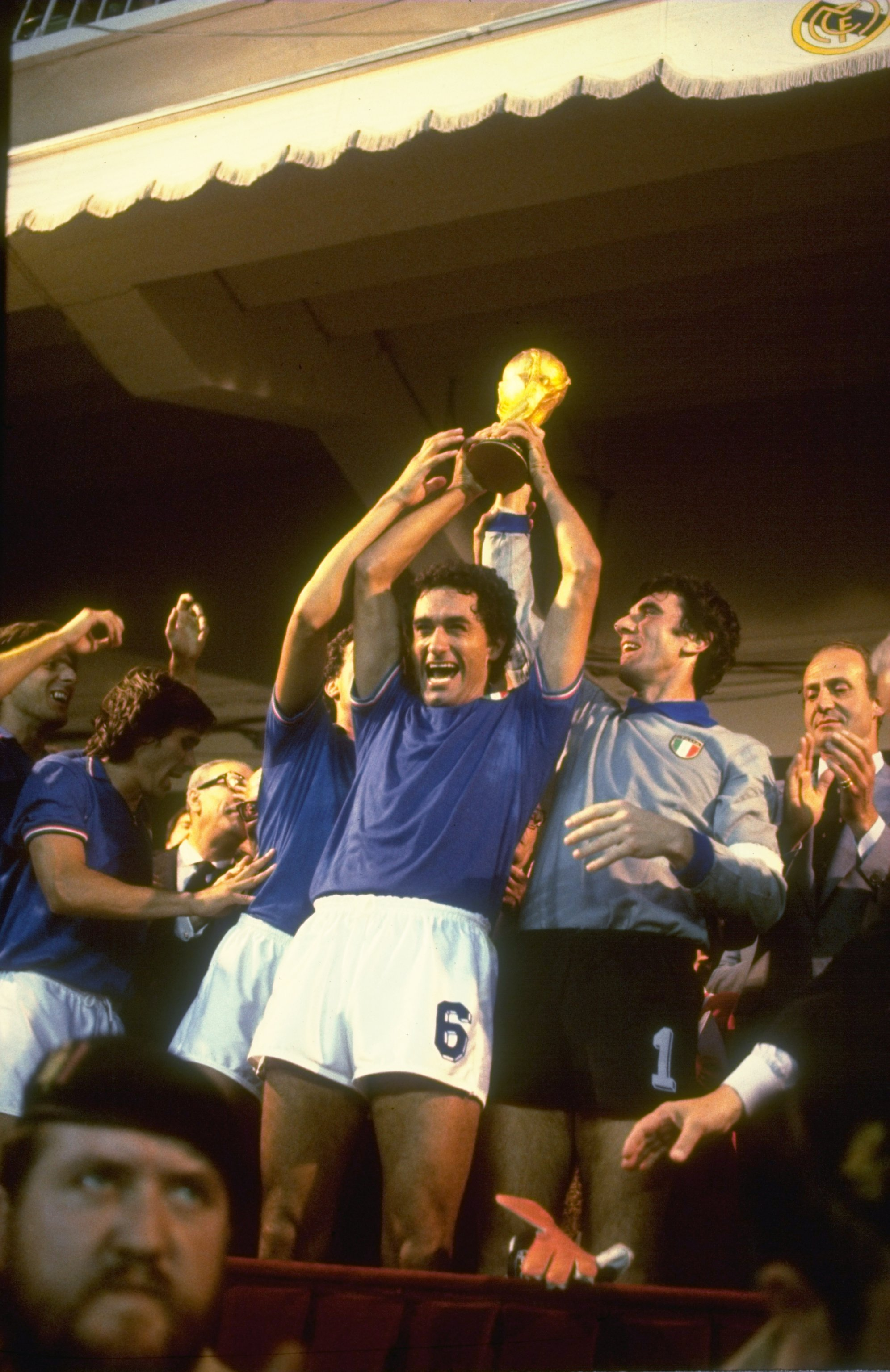 11 Jul 1982:  Scirea and Dino Zoff of Italy hold the trophy aloft after the World Cup final against West Germany at the Bernabeu Stadium in Madrid, Spain. Italy won the match 3-1. \ Mandatory Credit: Steve  Powell/Allsport
