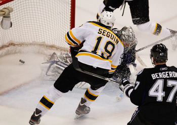 TAMPA, FL - MAY 21:  Tyler Seguin #19 of the Boston Bruins watches a bruins goal get past Dwayne Roloson #35 of the Tampa Bay Lightning in the first period of Game Four of the Eastern Conference Finals during the 2011 NHL Stanley Cup Playoffs at St Pete T