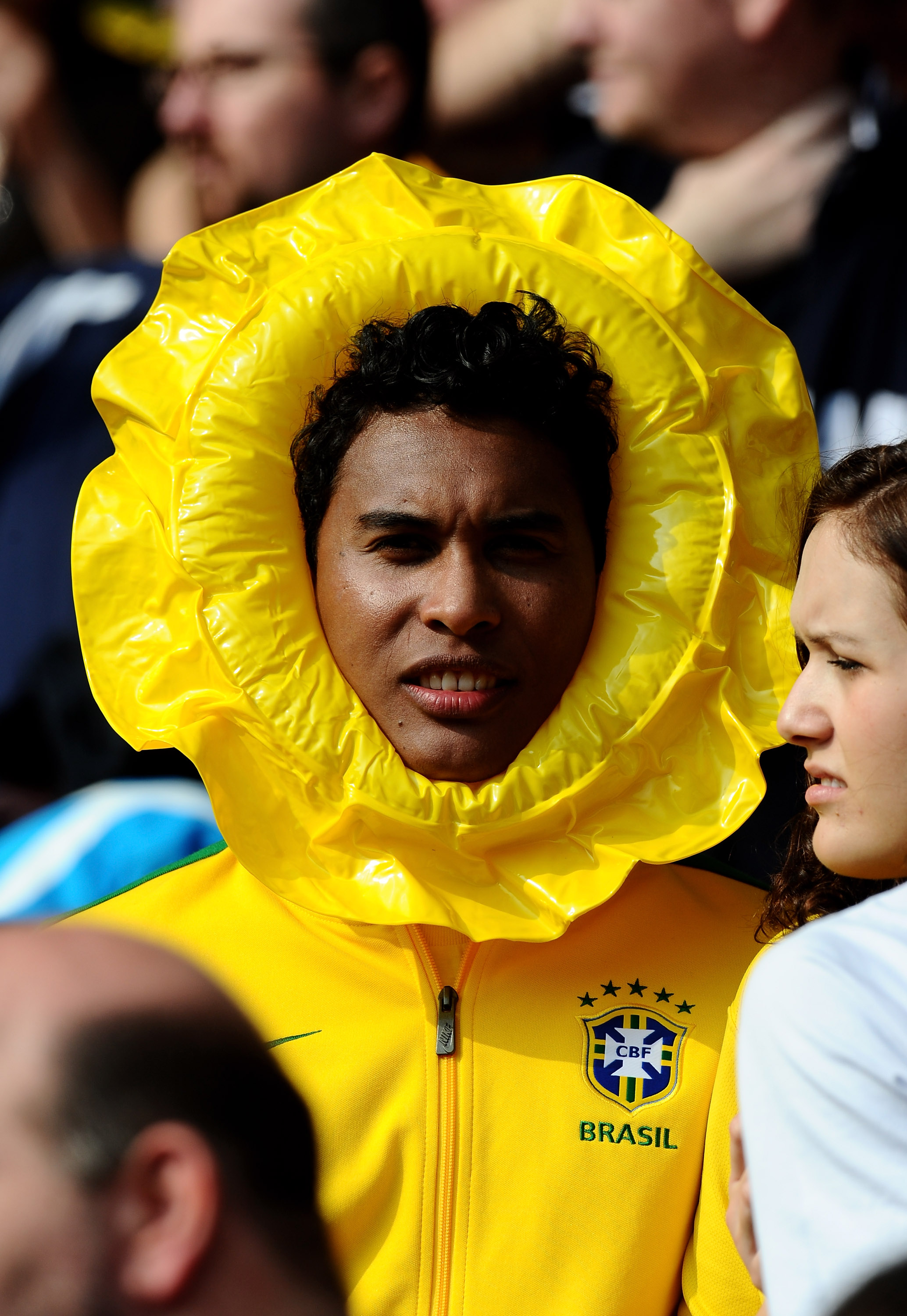 LONDON, ENGLAND - MARCH 27: A Brazil fan soaks up the atmosphere during the International friendly match between Brazil and Scotland at Emirates Stadium on March 27, 2011 in London, England.  (Photo by Mike Hewitt/Getty Images)
