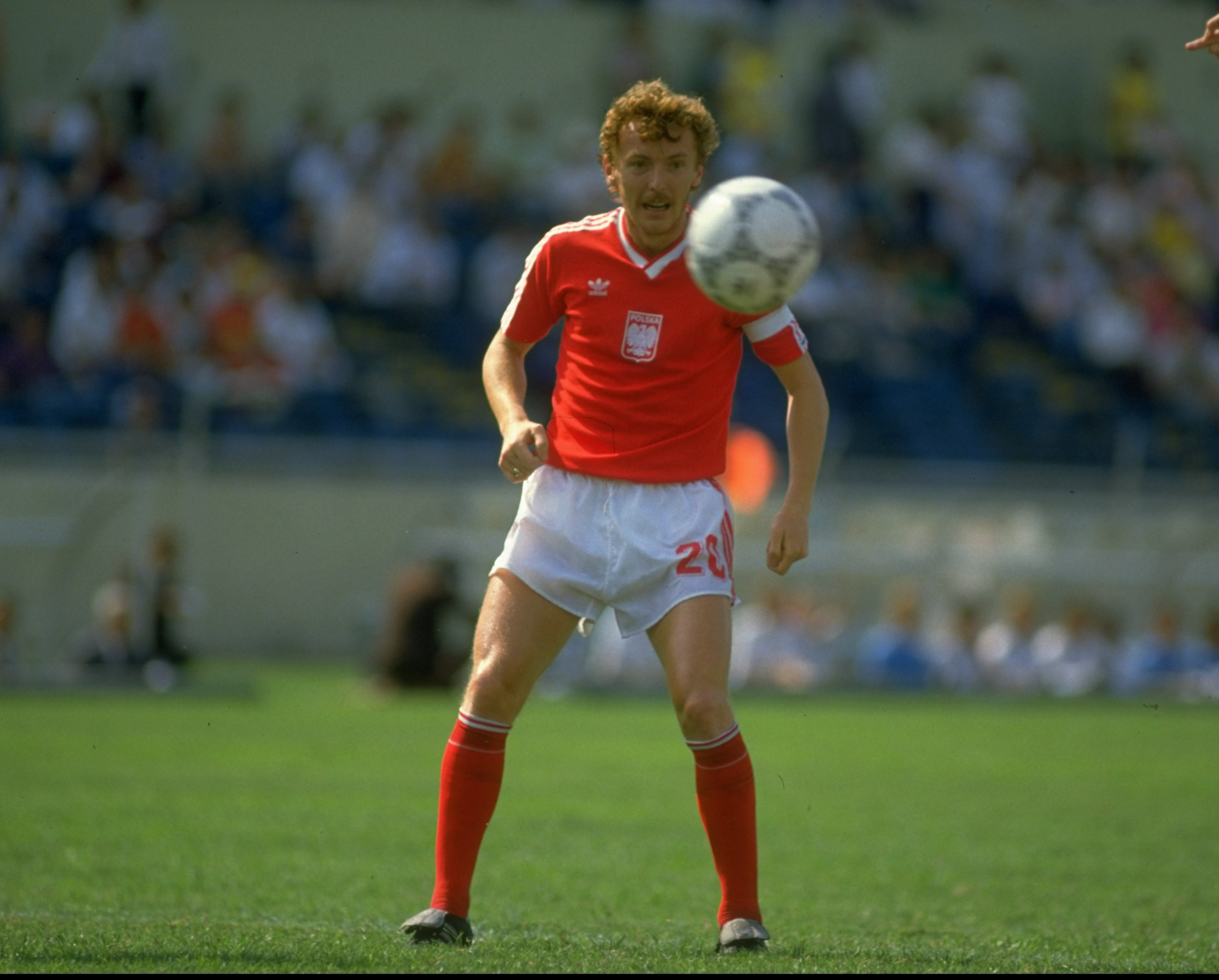 11 Jun 1986:  Zbigniew Boniek of Poland in action during the World Cup match against England at the Universitario Stadium in Monterrey, Mexico. England won the match 3-0.   \ Mandatory Credit: Allsport UK /Allsport