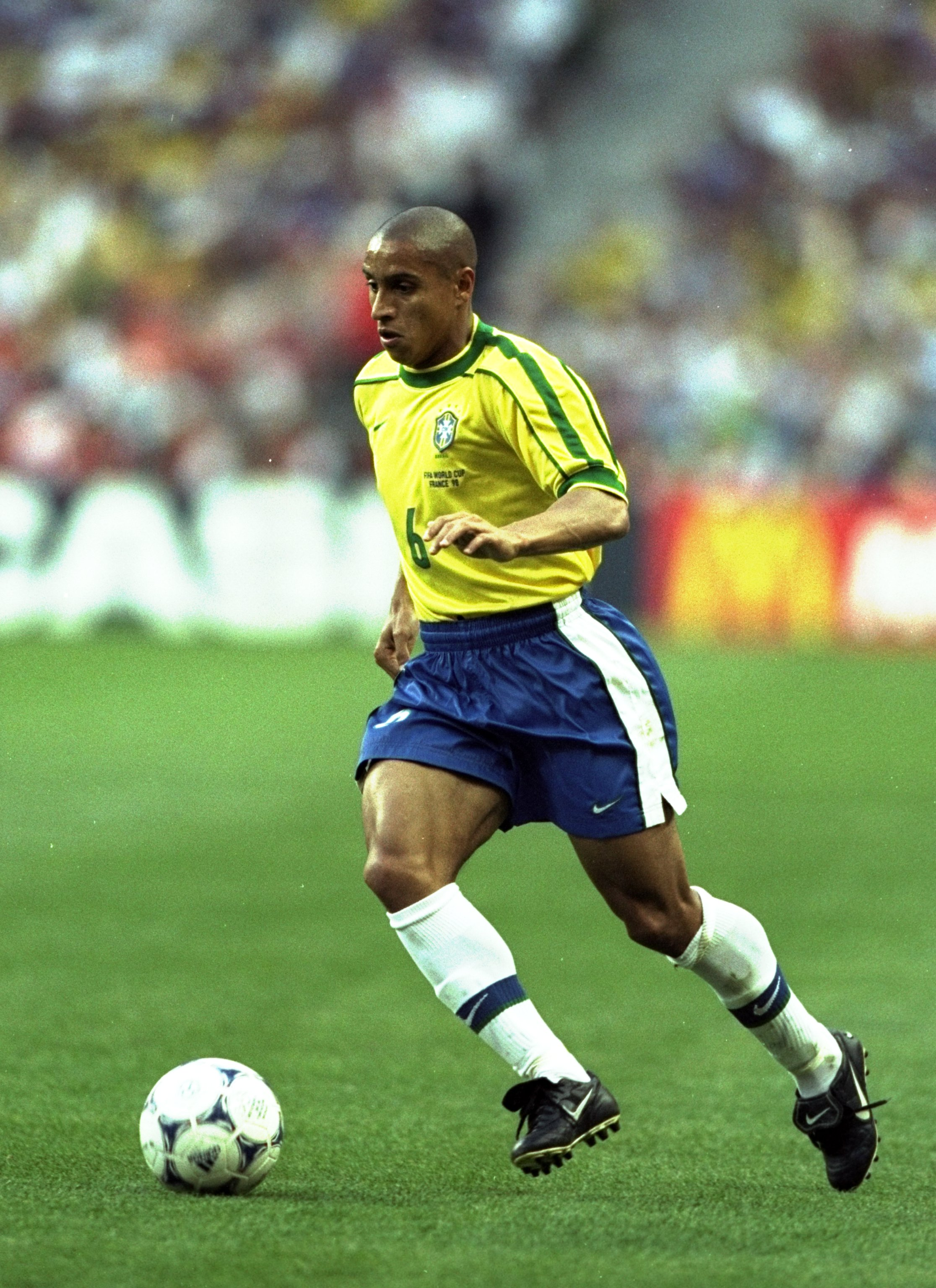 12 Jul 1998:  Roberto Carlos of Brazil on the ball during the World Cup Final against France at the Stade de France in St Denis. France won 3-0.  \ Mandatory Credit: Ben Radford /Allsport