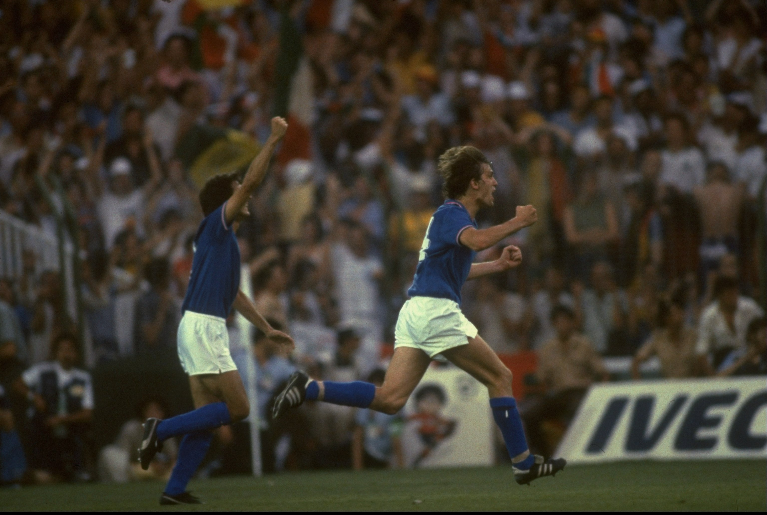11 Jul 1982:  Marco Tardelli (right) of Italy celebrates scoring the second goal against West Germany during the 1982 World Cup final at the Bernabeu Stadium in Madrid, Spain. Italy won the match 3-1. \ Mandatory Credit: Allsport UK /Allsport