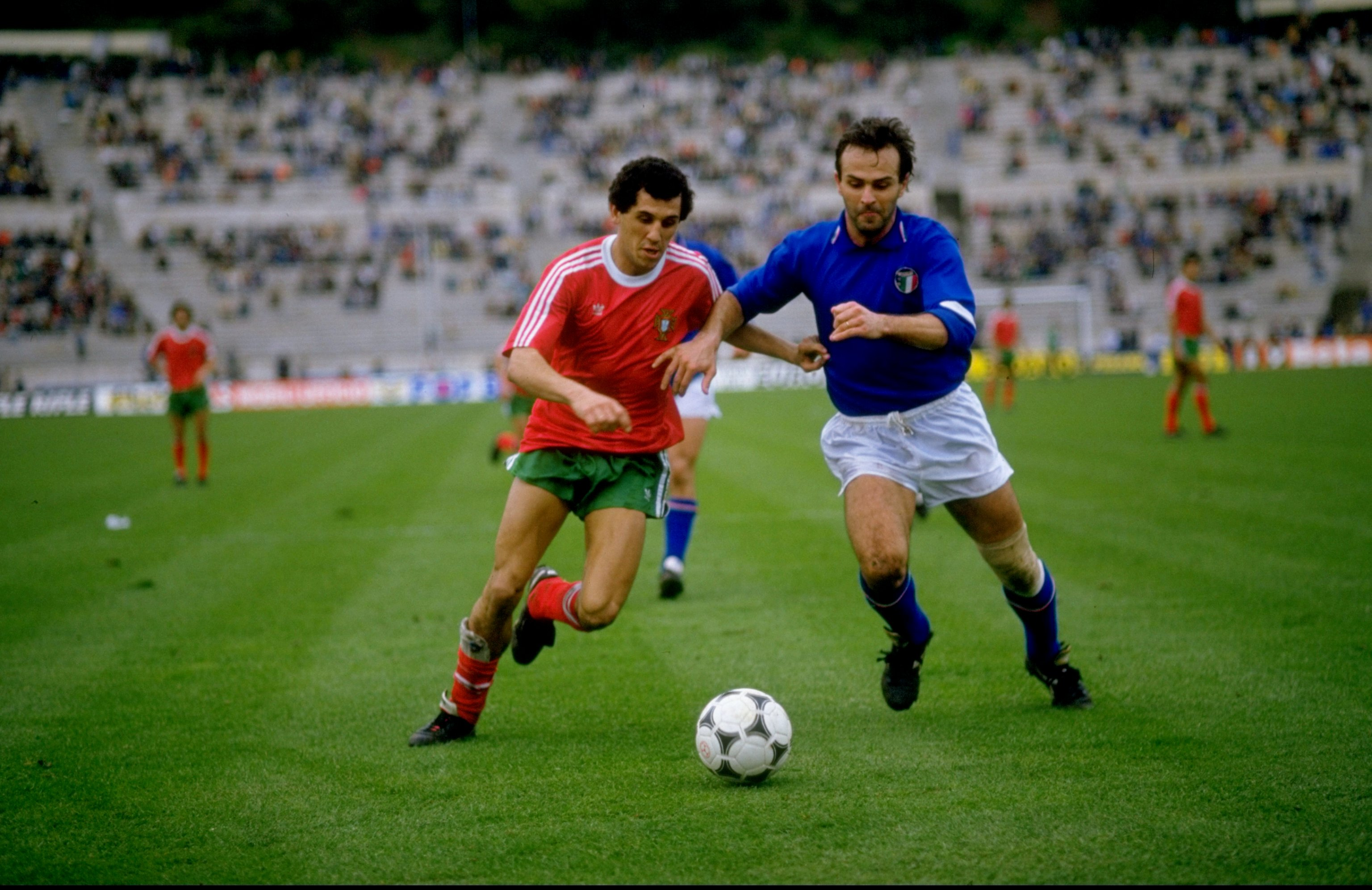 14 Feb 1987:  Cabrini of Italy takes on Jaime of Portugal during the European Championship qualifying match against Portugal played in Lisbon, Portugal.  Italy won the match 1-0.  \ Mandatory Credit: Allsport UK /Allsport