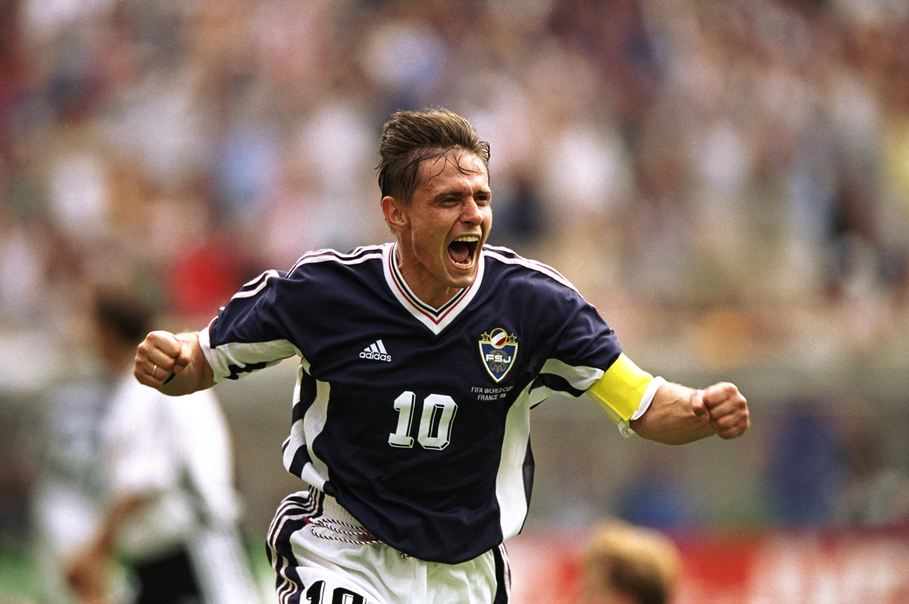 21 Jun 1998:  Yugoslavia captain Dragan Stojkovic celebrates his goal during the World Cup group F game against Germany at the Stade Felix Bollaert in Lens, France. The match ended 2-2. \ Mandatory Credit: Shaun Botterill /Allsport