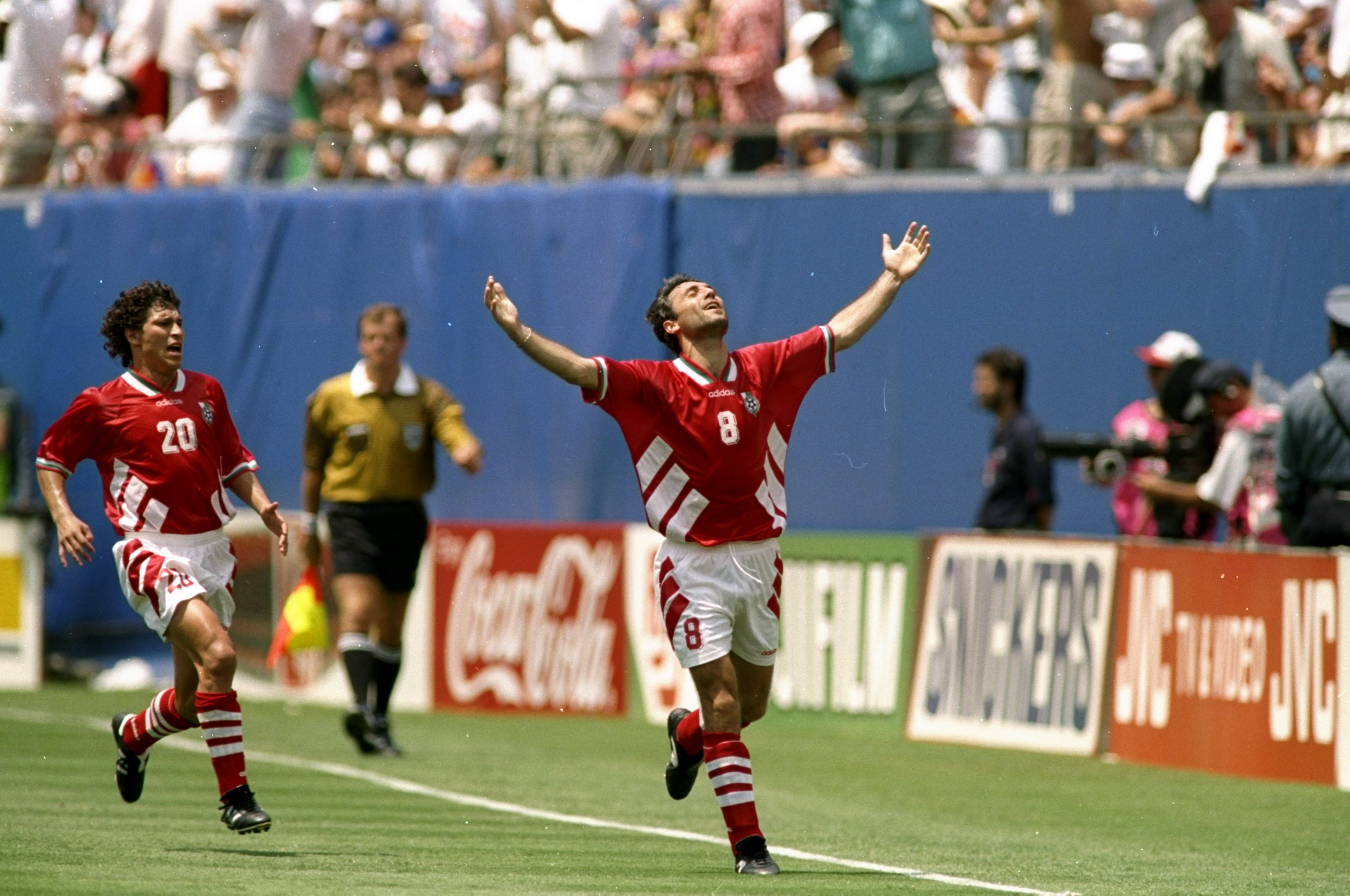 10 Jul 1994:  Hristo Stoichkov of Bulgaria celebrates their first goal during the World Cup quarter-final against Germany at the Giants Stadium in New York, USA. Bulgaria won the match 2-1. \ Mandatory Credit: Rick  Stewart/Allsport