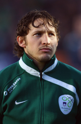 BELFAST, NORTHERN IRELAND - APRIL 01:  Andrej Komac of Slovenia lines up for the National Anthems prior to the FIFA 2010 World Cup Group 3 Qualifier between Northern Ireland and Slovenia at Windsor Park on April 1, 2009 in Northern Ireland,  United Kingdo
