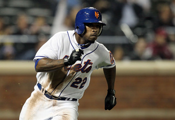 NEW YORK, NY - APRIL 11:  Willie Harris #22 of the New York Mets runs out his fourth inning two-run double against the Colorado Rockies on April 11, 2011 at Citi Field in the Flushing neighborhood of the Queens borough of New York City.  (Photo by Jim McI