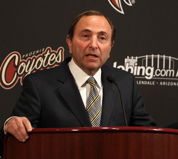 GLENDALE, AZ - MARCH 08:  NHL commissioner Gary Bettman speaks during a press conference before the NHL game between the Vancouver Canucks and the Phoenix Coyotes at Jobing.com Arena on March 8, 2011 in Glendale, Arizona.  (Photo by Christian Petersen/Get