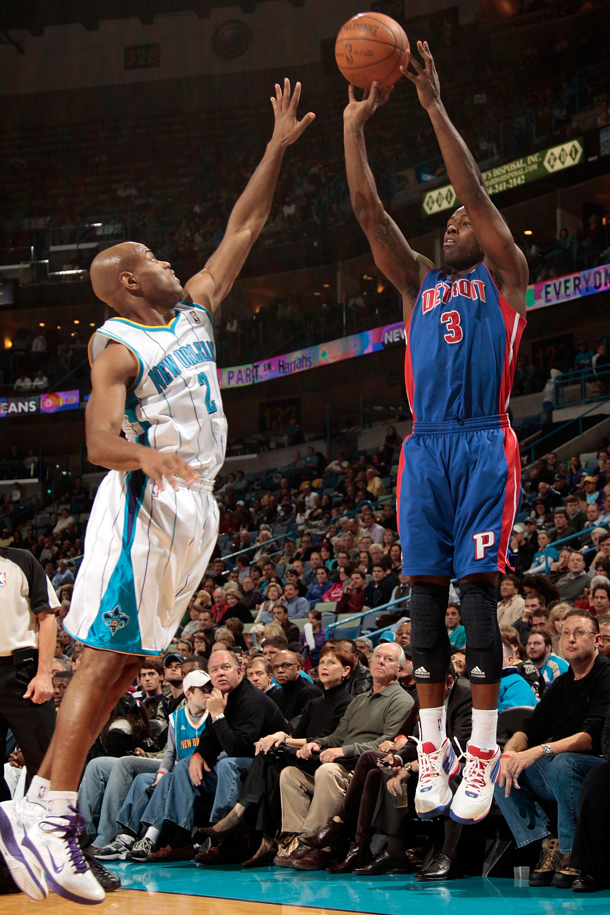 NEW ORLEANS, LA - DECEMBER 08:  Rodney Stuckey #3 of the Detroit Pistons shoots the ball over Jarrett Jack #2 of the New Orleans Hornets at the New Orleans Arena on December 8, 2010 in New Orleans, Louisiana. The Hornets defeated the Pistons 93-74.   NOTE