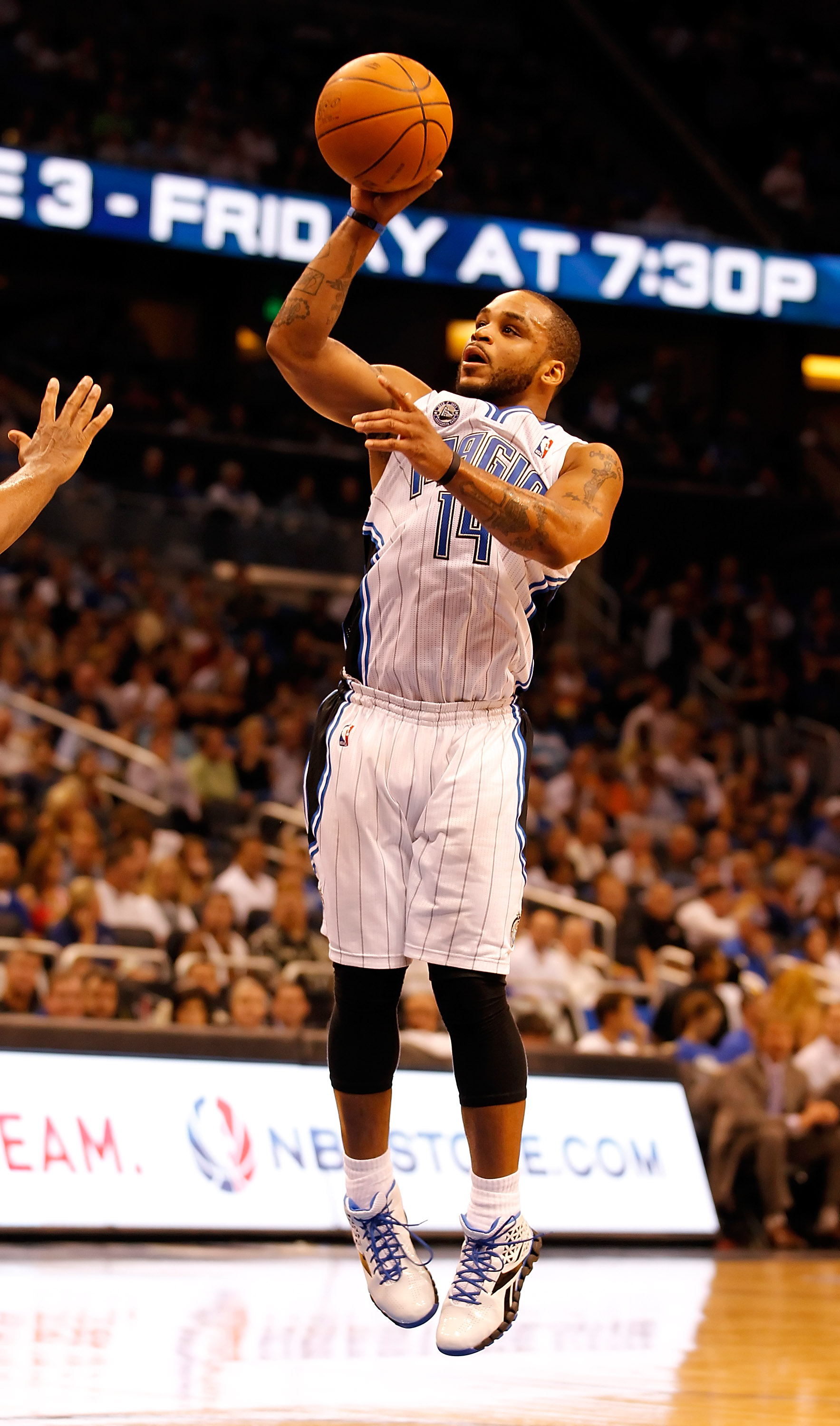 ORLANDO, FL - APRIL 19:  Jameer Nelson #14 of the Orlando Magic shoots against the Atlanta Hawks during Game Two of the Eastern Conference Quarterfinals of the 2011 NBA Playoffs on April 19, 2011 at the Amway Arena in Orlando, Florida.  NOTE TO USER: User