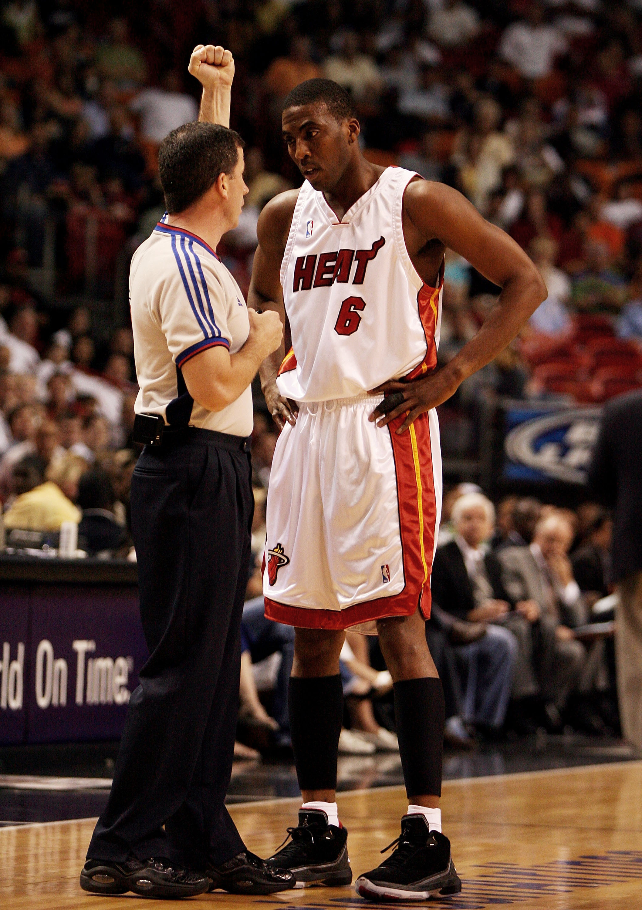 MIAMI - APRIL 8:  Eddie Jones #6 of the Miami Heat questions a foul call by official Tim Donaghy while taking on the Charlotte Bobcats at American Airlines Arena April 8, 2007 in Miami, Florida. NOTE TO USER: User expressly acknowledges and agrees that, b