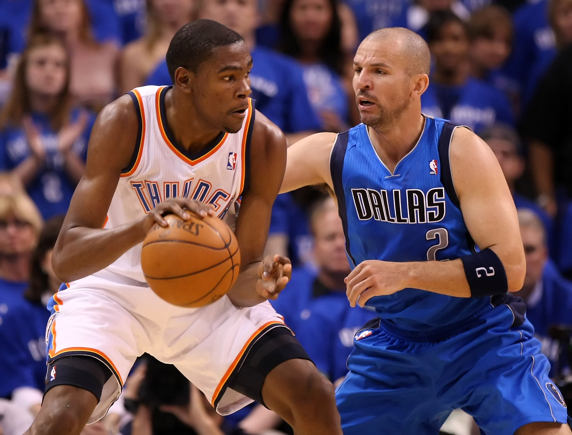 OKLAHOMA CITY, OK - MAY 23:  Kevin Durant #35 of the Oklahoma City Thunder posts up Jason Kidd #2 of the Dallas Mavericks in the first half in Game Four of the Western Conference Finals during the 2011 NBA Playoffs at Oklahoma City Arena on May 23, 2011 i