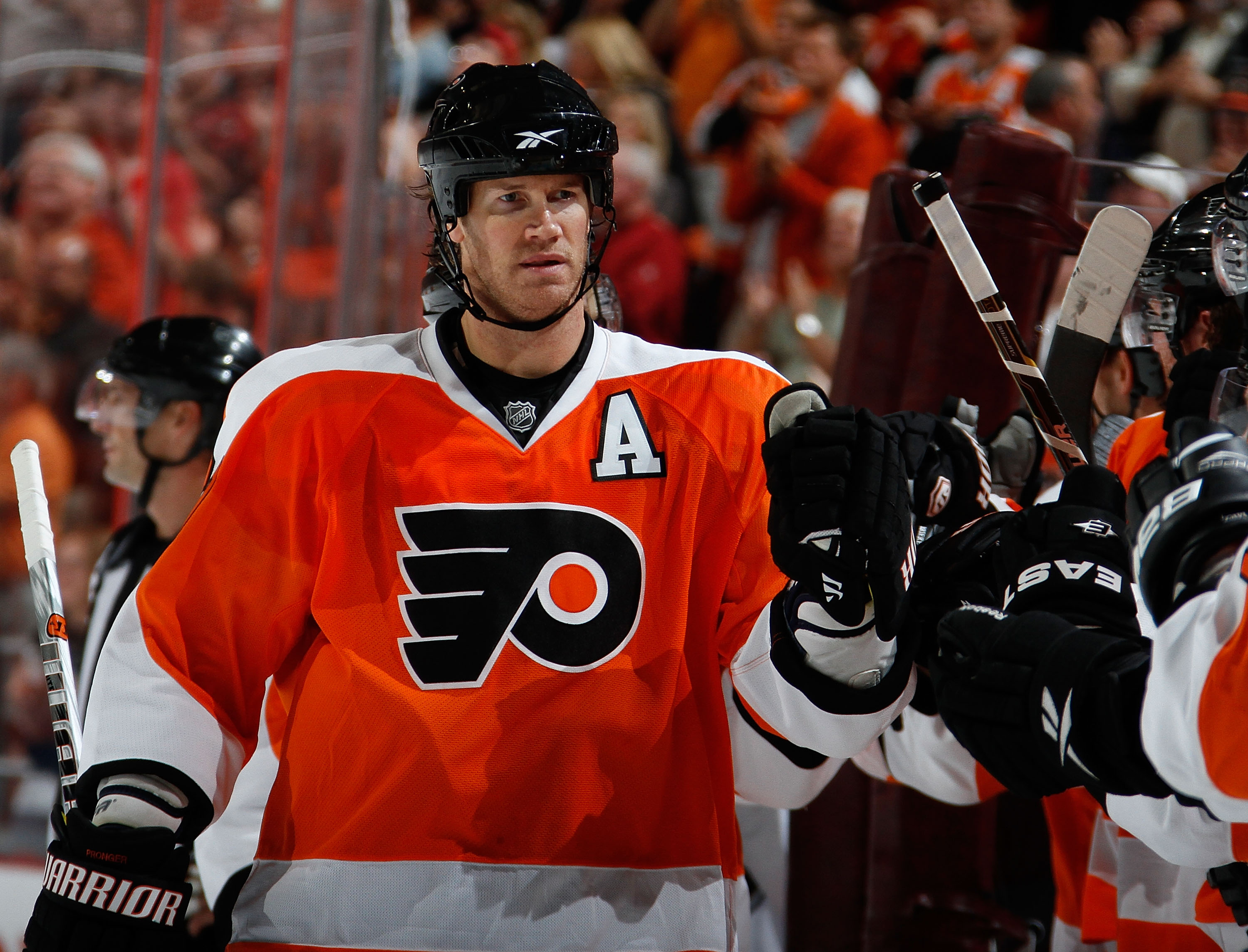 PHILADELPHIA - OCTOBER 11:  Chris Pronger #20 of the Philadelphia Flyers celebrates a Flyers goal against the Colorado Avalanche in a hockey game at the Wells Fargo Center on October 11, 2010 in Philadelphia, Pennsylvania.  (Photo by Paul Bereswill/Getty
