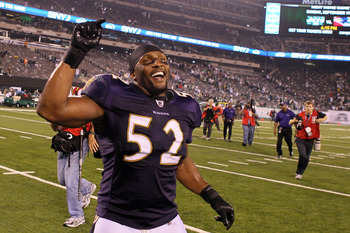 EAST RUTHERFORD, NJ - SEPTEMBER 13:  Ray Lewis #52 of the Baltimore Ravens reacts after defeating the New York Jets during their home opener at the New Meadowlands Stadium on September 13, 2010 in East Rutherford, New Jersey.  (Photo by Jim McIsaac/Getty