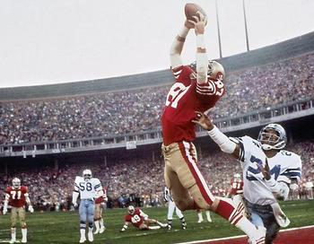 #87 Dwight Clark making the catch over #24 Everson Walls