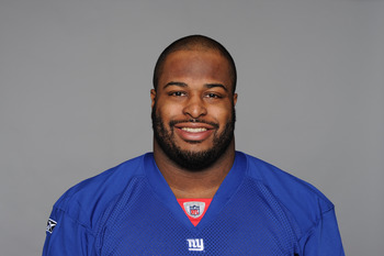 EAST RUTHERFORD, NJ - CIRCA 2010: In this handout image provided by the NFL, Barry Cofield of the New York Giants poses for his 2010 NFL headshot circa 2010 in East Rutherford, New Jersey. (Photo by NFL via Getty Images)
