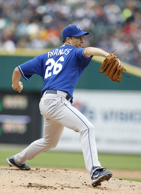 DETROIT - MAY 14: Jeff Francis #26 of the Kansas City Royals pitches in the first inning during the game against the Detroit Tigers at Comerica Park on May 14, 2011 in Detroit, Michigan.  (Photo by Leon Halip/Getty Images)
