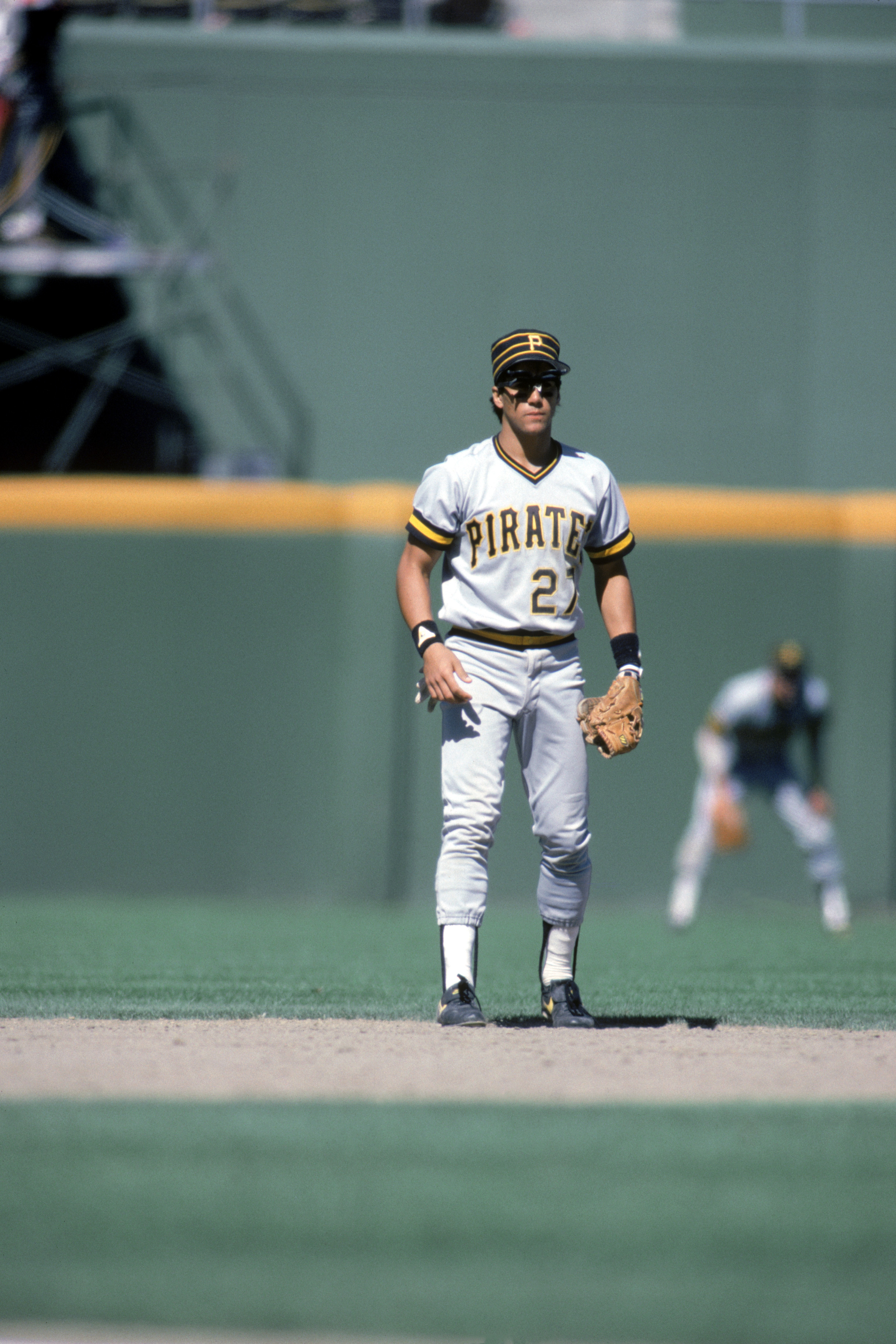 SAN DIEGO - UNDATED:  Sam Khalifa #27 of the Pittsburgh Pirates stands ready for a play during a game against the San Diego Padres circa 1985-1987 at Jack Murphy Stadium in San Diego, California.  (Photo by Rick Stewart/Getty Images)