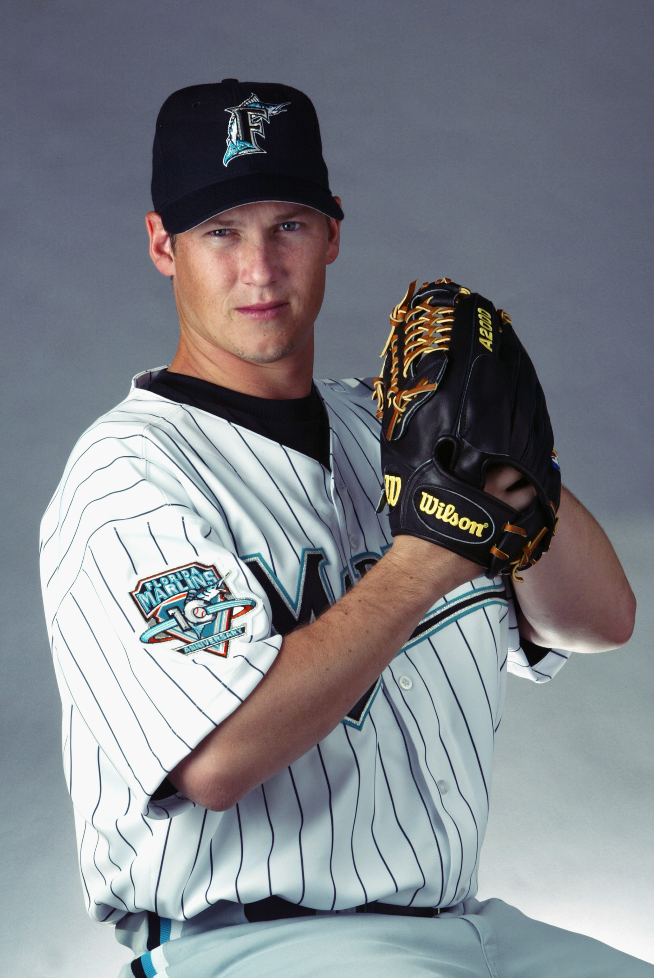 JUPITER, FL - FEBRUARY 22:  Geoff Goetz # 59 of the Florida Marlins during picture day at Spring Training  on February 22, 2003 at Roger Dean Stadium in Jupiter Florida. (Photo By Eliot J. Schechter/Getty Images)