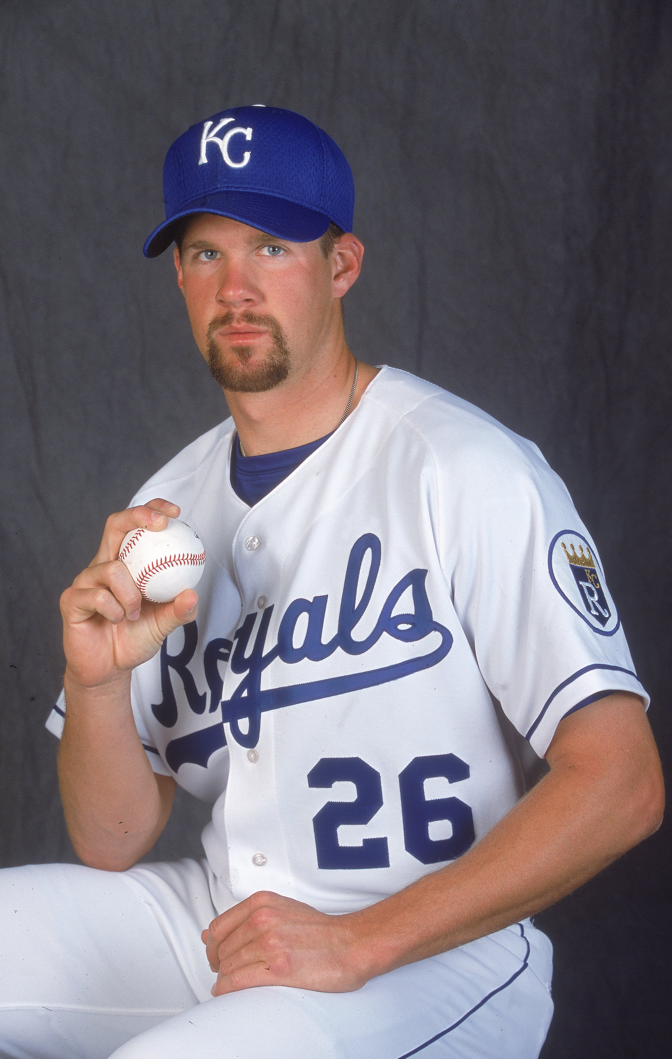 28 Feb 2001:  Jeff Austin #24 of the Kansas City Royals poses for a studio portrait during Spring Training at Baseball City Stadium in Davenport, Florida.Mandatory Credit: Andy Lyons  /Allsport