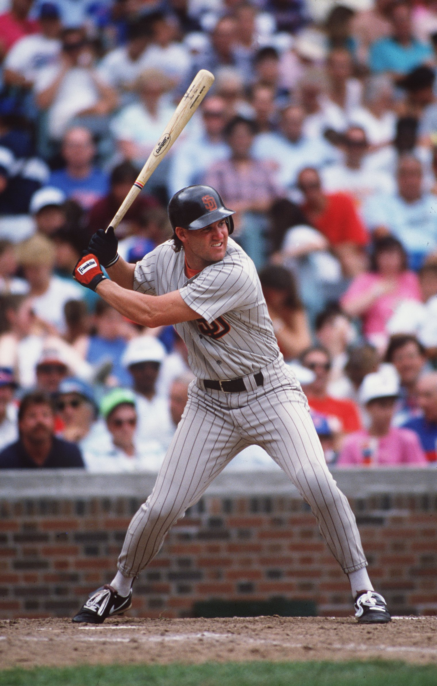 1990:  SHAWN ABNER OF THE SAN DIEGO PADRES AT BAT. Mandatory Credit: ALLSPORT/ALLSPORT