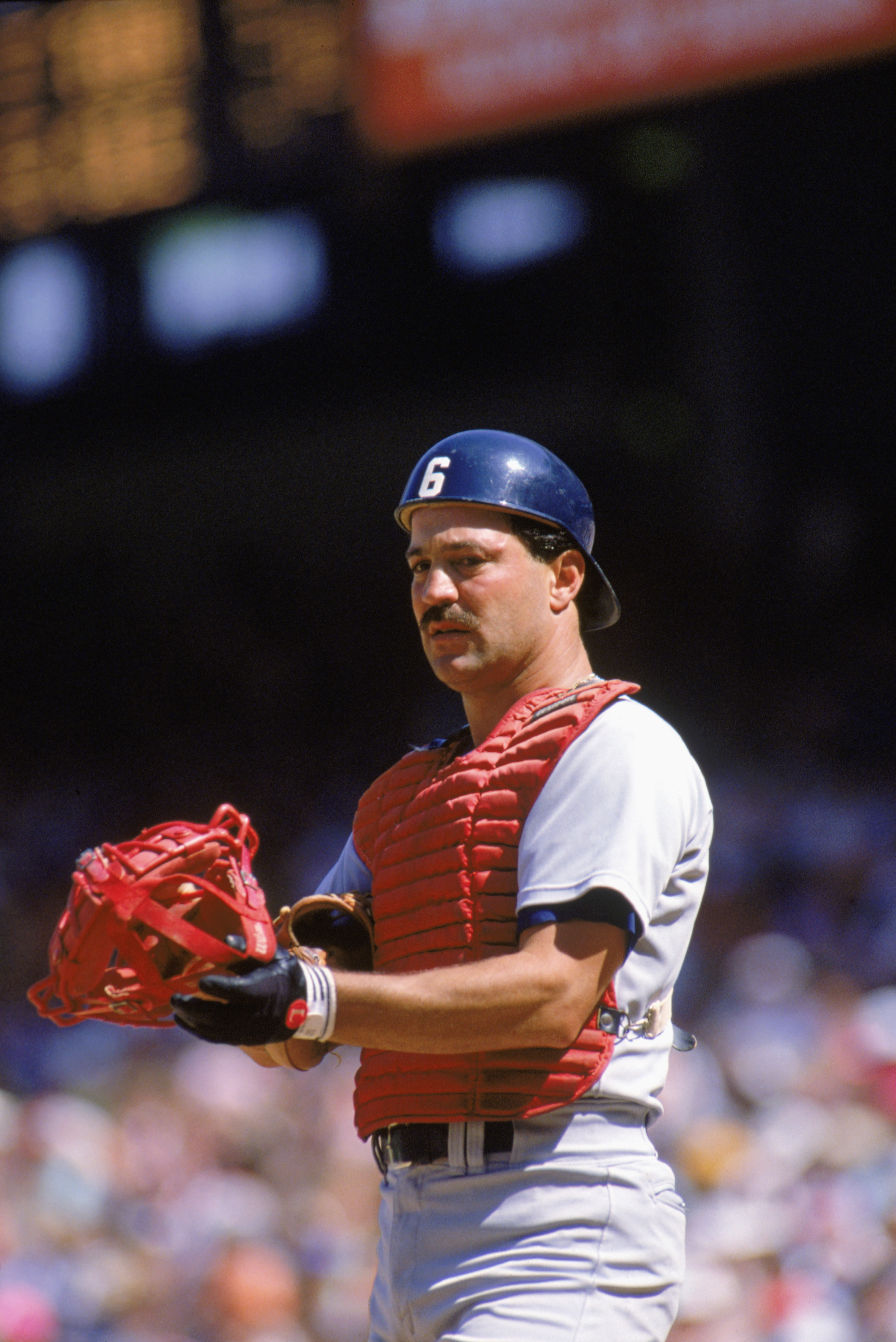 1989:  Rick Cerone of the Boston Red Sox prepares for play during the 1989 season. (Photo by Scott Halleran/Getty Images)