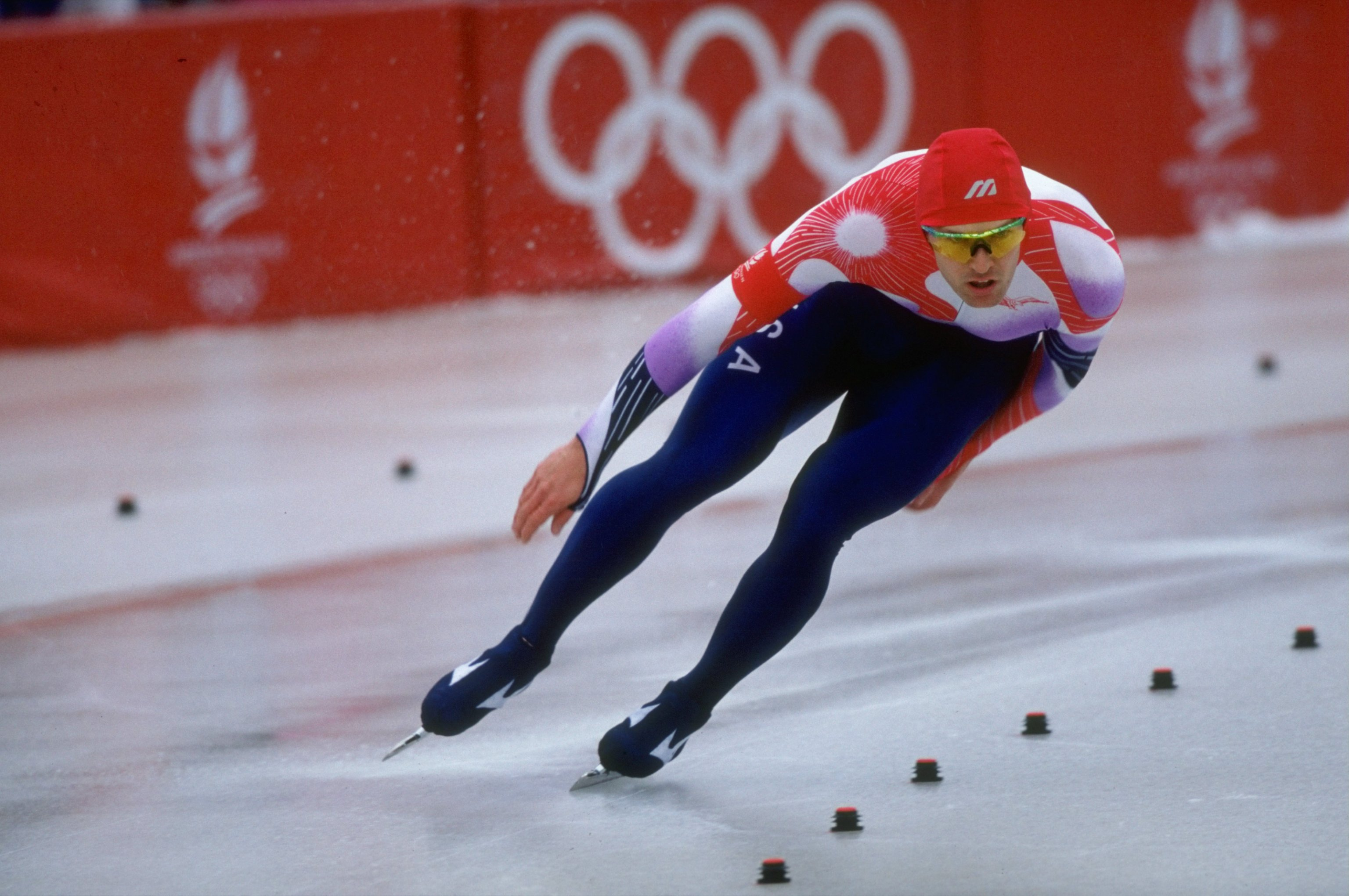 15 Feb 1992:  Dan Jansen of the USA in action during the Mens 500 metres Speed Skating event at the 1992 Winter Olympic Games in Albertville, France. \ Mandatory Credit: Pascal  Rondeau/Allsport