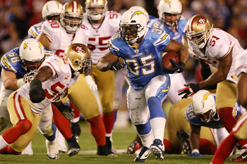SAN DIEGO, CA - DECEMBER 16:  Running back Mike Tolbert #35 of the San Diego Chargers rushes with the ball against the San Francisco 49ers at Qualcomm Stadium on December 16, 2010 in San Diego, California.  (Photo by Donald Miralle/Getty Images)