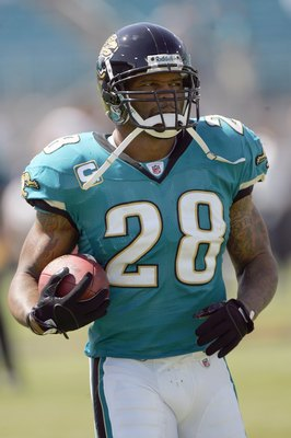 JACKSONVILLE, FL - SEPTEMBER 28:  Fred Taylor #28 of the Jacksonville Jaguars carries the ball before the game against the Houston Texans at Jacksonville Municipal Stadium on September 28, 2008 in Jacksonville, Florida.  (Photo by Sam Greenwood/Getty Imag