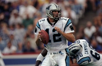 14 Aug 1998:  Quarterback Kerry Collins #12 of the Carolina Panthers in action during a pre-season game against the Buffalo Bills at the Bills Stadium in Orchard Park, New York. The Panthers defeated the Bills 12-7. Mandatory Credit: Rick Stewart  /Allspo