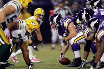 MINNEAPOLIS - OCTOBER 05:  Center John Sullivan #65 and the Minnesota Vikings line up during the game against the Green Bay Packers on October 5, 2009 at Hubert H. Humphrey Metrodome in Minneapolis, Minnesota.  (Photo by Jamie Squire/Getty Images)