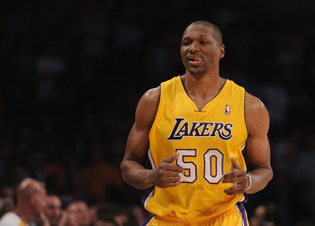 LOS ANGELES, CA - MARCH 31:  Theo Ratliff #50 of the Los Angeles Lakers leaves the game against the Dallas Mavericks at Staples Center on March 31, 2011 in Los Angeles, California.  NOTE TO USER: User expressly acknowledges and agrees that, by downloading