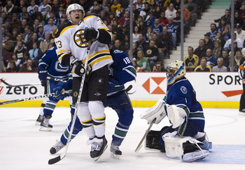 VANCOUVER, CANADA - FEBRUARY 26: Michael Ryder #73 of the Boston Bruins reacts after getting hit with the puck while standing in front of goalie Roberto Luongo #1 during the third period in NHL action on February 26, 2011 at Rogers Arena in Vancouver, Bri