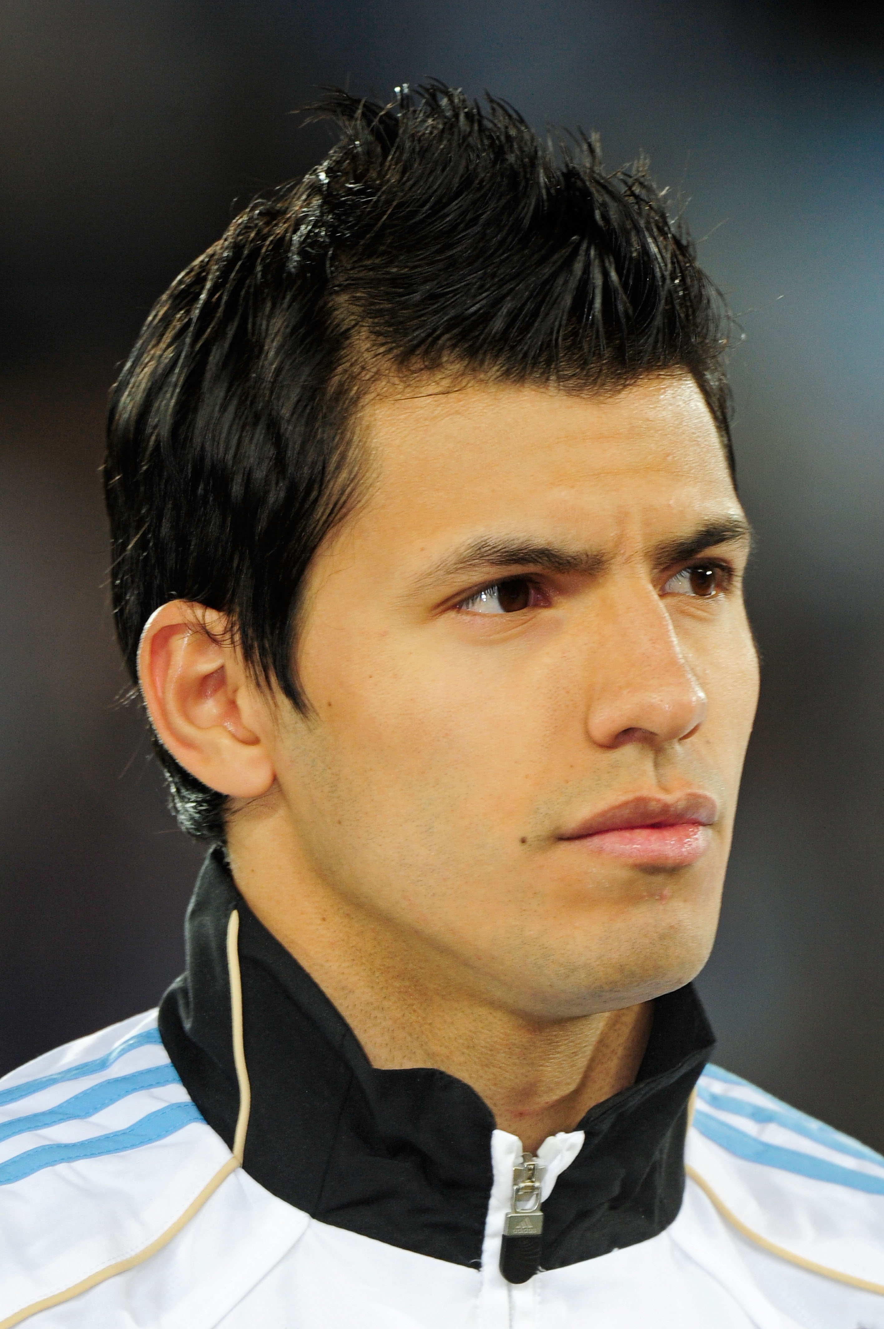 POLOKWANE, SOUTH AFRICA - JUNE 22:  Sergio Aguero of Argentina lines up for the national anthems prior to the 2010 FIFA World Cup South Africa Group B match between Greece and Argentina at Peter Mokaba Stadium on June 22, 2010 in Polokwane, South Africa.