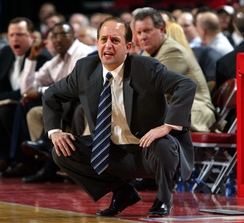 HOUSTON - JANUARY 24:  Head coach Jeff Van Gundy of the Houston Rockets calls a play during the game with the Orlando Magic on January 24, 2005 at the Toyota Center in Houston, Texas.  The Rockets won 89-78. NOTE TO USER: User expressly acknowleges and ag