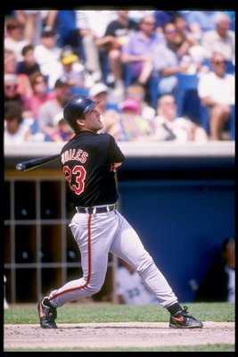 29 May 1994: Catcher Chris Hoiles of the Baltimore Orioles swings at the ball during a game against the Chicago White Sox at Comiskey Park in Chicago, Illinois.