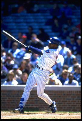 17 May 1994:  Batter Tuffy Rhodes of the Chicago Cubs swings to hit the ball while batting against the San Diego Padres at Wrigley Field in Chicago Illinios.  Mandatory Credit:  Jonathan Daniel/Allsport