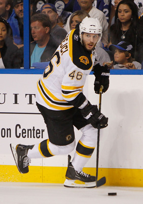 TAMPA, FL - MAY 19:  David Krejci #46 of the Boston Bruins controls the puck in Game Three of the Eastern Conference Finals against the Tampa Bay Lightning during the 2011 NHL Stanley Cup Playoffs at St Pete Times Forum on May 19, 2011 in Tampa, Florida.