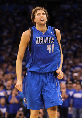 OKLAHOMA CITY, OK - MAY 21:  Dirk Nowitzki #41 of the Dallas Mavericks looks on while taking on the Oklahoma City Thunder in Game Three of the Western Conference Finals during the 2011 NBA Playoffs at Oklahoma City Arena on May 21, 2011 in Oklahoma City,