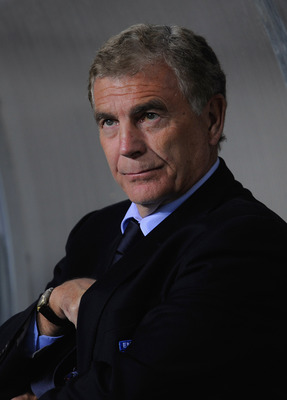DNEPROPETROVSK, UKRAINE - OCTOBER 10:  Sir Trevor Brooking looks on before the FIFA 2010 World Cup Group 6 Qualifying match between Ukraine and England at the Dnipro Arena on October 10, 2009 in Dnepropetrovsk, Ukraine.  (Photo by Michael Regan/Getty Imag