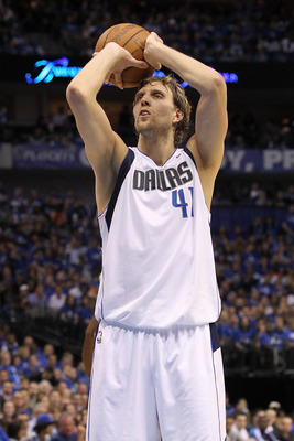DALLAS, TX - MAY 19:  Dirk Nowitzki #41 of the Dallas Mavericks shoots a free throw in the first half while taking on the Oklahoma City Thunder in Game Two of the Western Conference Finals during the 2011 NBA Playoffs at American Airlines Center on May 19