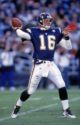 SAN DIEGO - NOVEMBER 12:  Quarterback Ryan Leaf #16 of the San Diego Chargers passes the ball during the game against the Miami Dolphins on November 12, 2000 at the Qualcomm Stadium in San Diego, California.  The Dolphins defeated the Chargers 17-7. (Phot