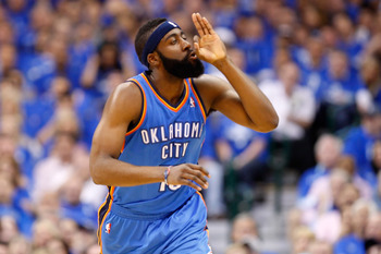 DALLAS, TX - MAY 17:  James Harden #13 of the Oklahoma City Thunder reacts in the first half while taking on the Dallas Mavericks in Game One of the Western Conference Finals during the 2011 NBA Playoffs at American Airlines Center on May 17, 2011 in Dall